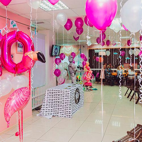 оформление шарами - воздушные шары на детский праздник, стилизация розовый фламинго
